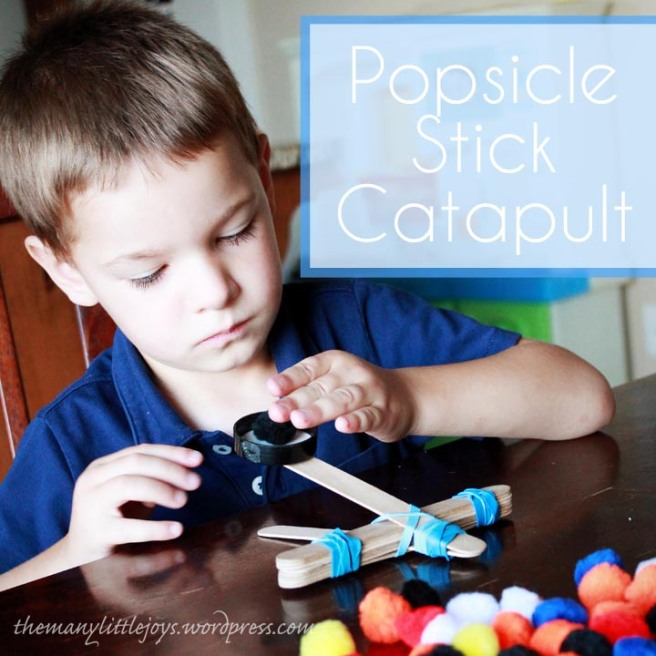 SImple popsicle stick catapult. My kids LOVE playing with this easy DIY toy. Great for developing fine motor skills and STEM knowledge.